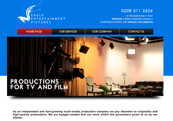 Developed using Dreamweaver, HTML5, CSS, JQuery and Javascript. Website Address: www.eagleentertainment.co.uk