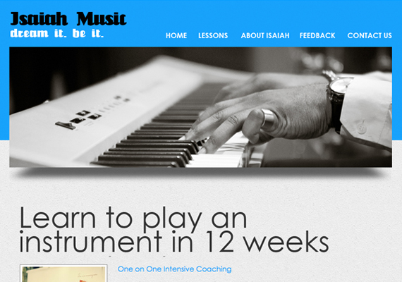 Website Design & Development for Isaiah Muzik. Website: www.isaiahmuzik.co.uk